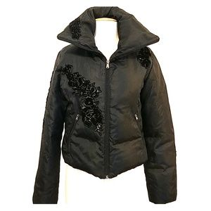 Black Guess Down Puffer Jacket with Velvet Floral